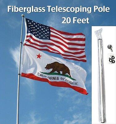 20' FT FLAG POLE FIBERGLASS TELESCOPING camp rv desert antenna dune