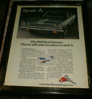 1969 Plymouth Road Runner ad -mounted ,ready to display