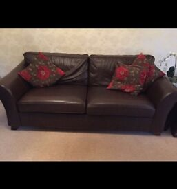 Marks & Spencer Brown Leather 3 Seater sofa & arm chair