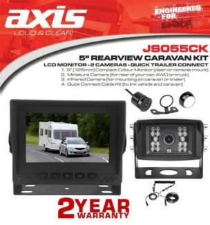 "Axis 5"" Rearview Caravan Kit Lcd Monitor - 2 Cameras - Quick Tr"