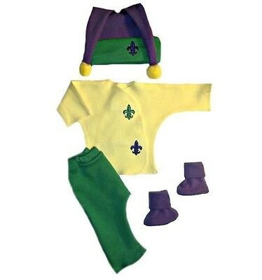 Mardi Gras Unisex Baby 4 Piece Clothing Outfit - 4 Preemie and Newborn Sizes ()