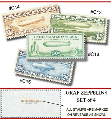 C13 - C18 ZEPPELIN U.S. AIRMAIL 4 STAMP REPRODUCTIONS