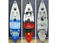 Mamboola Epic sit on top kayak with backrest, paddle & side rod holders.