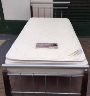 Excellent metal king single bed frame + Pillow Top mattress