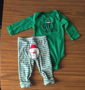 Carter's Christmas onesies and pants- 6months