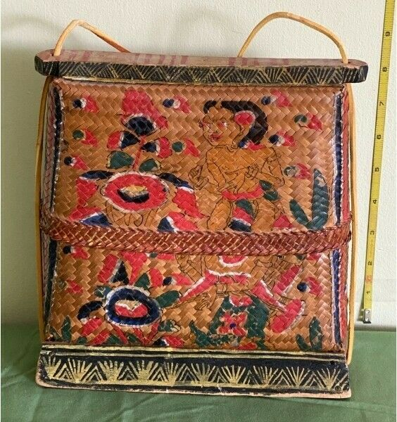 Balinese Indonesian Antique Woven Basket Purse Fine Bali Hand Painting & Patina