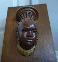 Vintage & Rare Ndebele Tribe Ceramic Bust by Devonware