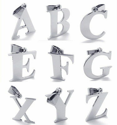26 Letter A-Z For Choose Silver Stainless Steel Pendant Necklace