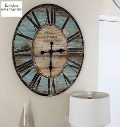 Large Rustic Wall Clock Farmhouse Oversized Analog Roman Vintage Look Home Decor