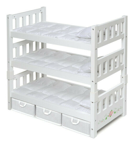 1-2-3 Convertible Doll Bunk Bed with Bedding and Storage Baskets - White Rose