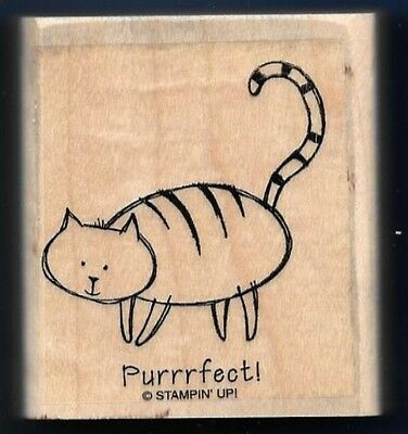 (PURRRFECT! CAT Pet Gift WORDS love Occasion card Stampin' Up! wood RUBBER STAMP)