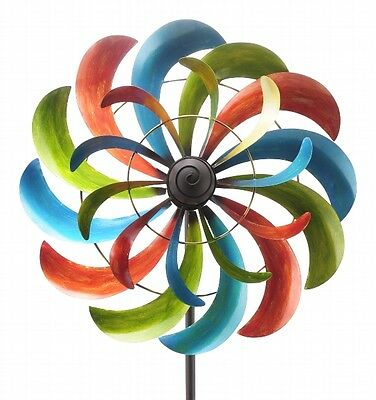 XXL Windrad ArtFerro bunt Windspiel Gartenstecker Gartendeko Metall  * H230  Ø58