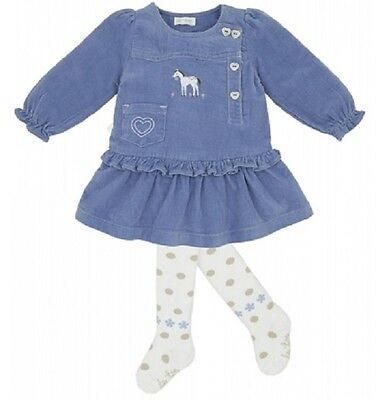 NWT LE TOP COWGIRL blue DRESS & white TIGHTS baby girl set sz 6M 9M 12M 18M A15