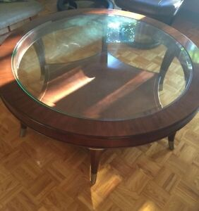 Beautiful wood and bevelled glass coffee table