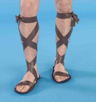 Roman Sandals Men's Brown Vinyl Strap Sandals Ancient Period Costume Accessory