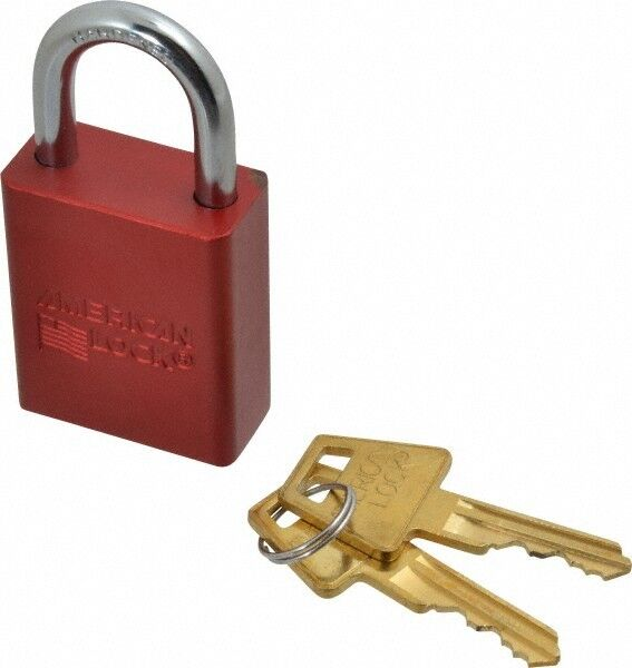 """American Lock Keyed Different Lockout Padlock 1"""" Shackle Clearance, 1/4"""" Shac..."""