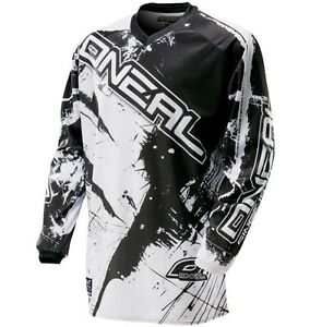 Oneal Element Long Sleeve Sleeved DH Downhill MTB Bike Jersey Black White Large