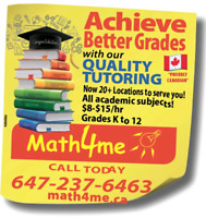 Math Science English Tutor 8$-15$/hr - two locations in Brampton