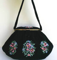 Lovely Evening Purse Black Beaded with embroided Roses