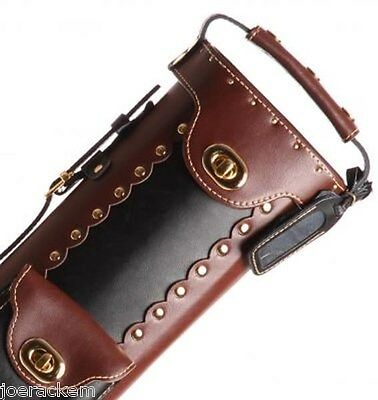 New Instroke Pool Cue Case Inverted Black Brown 2x4 LEATHER Cowboy  (Leather Cowboy Cue Case)