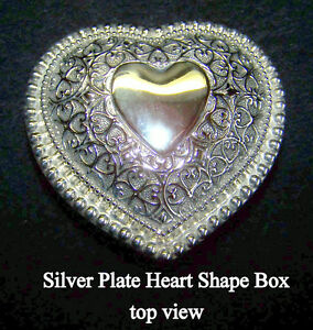 Heart Shape Silver Plate Trinket Box, New, lined