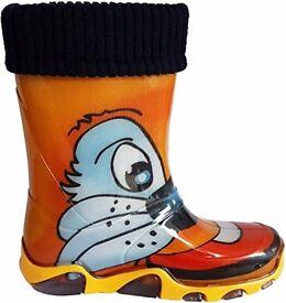 Kids Boys Girls Wellies Boots Warm Fleece-Lined Light Unisex Wellington (EU: 24/25, UK: 7/8)