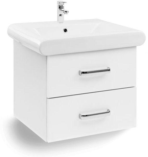 Waschbecken Unterschrank Waschplatz Alicante 60 cm 2 Schubladen weiß
