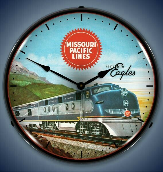 New Missouri Pacific Train Railroad LIGHTED advertising clock USA made 🚂🚂