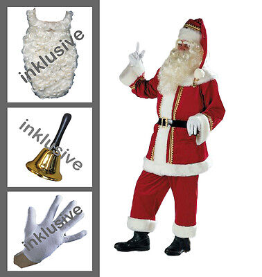 Weihnachtsmann Samt Bart | Glocke | Handschuhe | Jacke | Hose | Mütze | - Männlich Weihnachten Kostüm