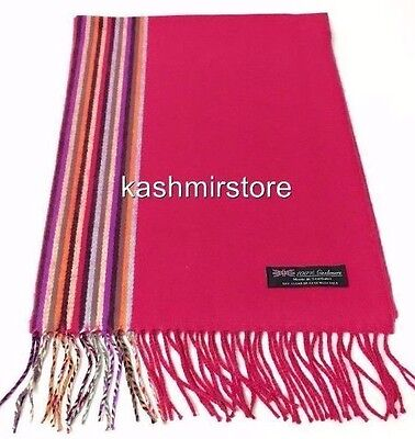100% CASHMERE SCARF Multi Color Striped Solid Hot Pink Scotland Soft Wool - Hot Pink Scarf