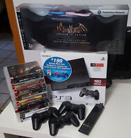 PS3 SLIM 160 GB COMME NEUF 3 MANETTES + 18 JEUX+HDMI