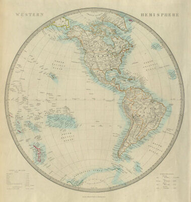WESTERN HEMISPHERE. The Americas; Pacific Ocean; New Zealand. SDUK 1874 map