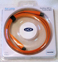 NEW Lacie Flat Firewire 400-800 cable (9pin to 6pin), 1.2m/4ft