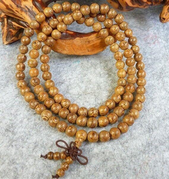 Genuine Wenge Wood 108 8mm Buddhist Prayer Bead Mala Necklace/Bracelet