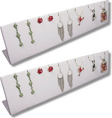 2pc Set 12wx 2.5h White Earring Pendant Chain Jewelry Display Stand Pj32w2 New