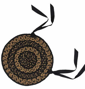New Primitive Country Tan Black Round BRAIDED JUTE CHAIR PAD Rug Seat Cover