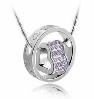 Beautiful White Gold Filled Necklace With Purple Cubic Zirconia