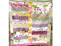 HOMEMADE PATCHWORK THROW - GRAPE PARTY £15 Purple Pink - Ideal for a Bed, Sofa or Picnic Blanket