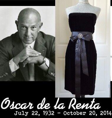 Oscar De La Renta Beautiful Black Velvet Silk Lace Bow Bead Mix Dress Us 6