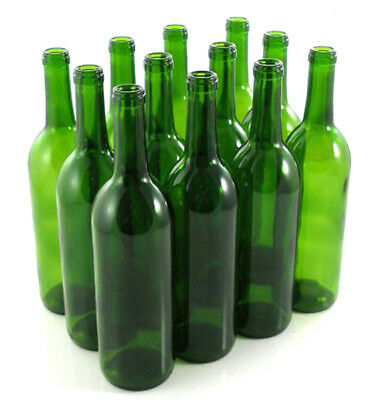 Green Wine Bottles, 750 ml Capacity (Pack of 12)