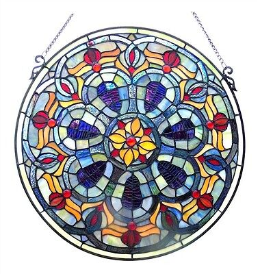 "Handcrafted 20"" Diameter Round Victorian Design Stained Glass Window Panel"