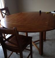Solid Wood Dining Table and Chairs - Pub style height