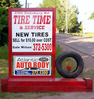 TIRE TIME-NEW TIRES $10.00 OVER COST.