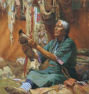 "Howard TERPNING "" New Doll for My Granddaughter ""  LTD Canvas Native Horse"