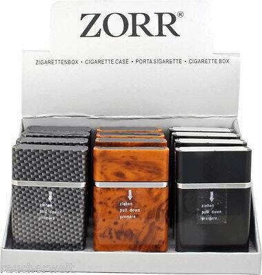 Serie Schwarz Holz (Deluxe Zigaretten Box Etui Dose Case - Design Serie in Carbon Wurzelholz Schwarz)