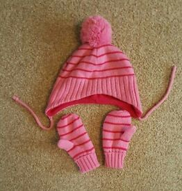 Pink hat and mittens age 1-2 years