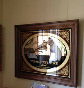 """RCA Victor """"His Masters Voice"""" Framed Vintage Mirror"""
