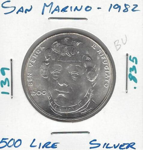 San Marino 500 Lire, 1982, Uncirculated, Silver