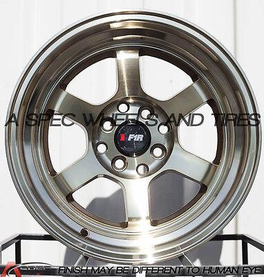 F1R F05 15x8 4x100/114.3 Et0 Machine Bronze Wheels Fits Del So Civic Celica Fox