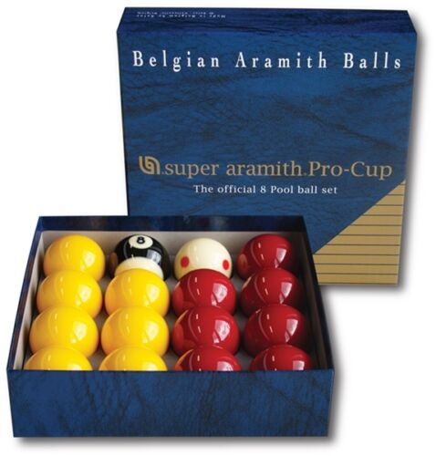 """SUPER ARAMITH PRO CUP POOL BALLS MATCH 2""""(51mm) REDS & YELLOWS 1 7/8""""TV CUE BALL"""